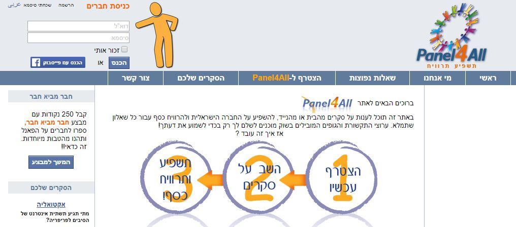 panel4all אתר סקרים אונליין